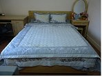 Room 1:The bed with matris springs, beautiful new blanket sheets and pillows