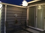 Outdoor chandelier- with bistro table and chairs