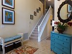 Vaulted front entry/foyer.  Coat rack, shoe bench and shoe storage baskets.