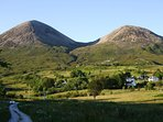 Red Cuillin in summer. View from cottage window.