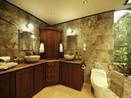 Luxurious Master Bathroom, His/Hers Sinks, His/Hers Rainfall/waterfall showers