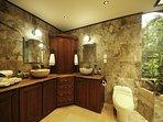 Luxurious Master Bathroom, His/Hers Sinks, His/Hers Rainfall/waterfall showers