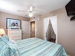 Great Coastal bedding in the guest room as well. Flat screen TV