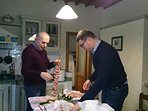 My father Marco and my brother Antonello are preparing a typical tuscan roast!