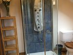 Shower tower with jets in master bedroom