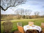 ...with a seating area at the top of the garden, which provides amazing country views