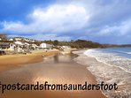 Saundersfoot beach less than 400m walk away