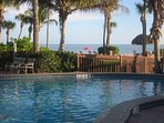 Pool and hot tub overlooking the Gulf of Mexico.  Most complexes on Sanibel lack this amenity!