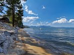 The beach and crystal clear waters of Lake Tahoe are only steps away.