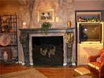 Ornamental Fireplace and TV in Family Room