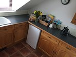 Separate kitchen with Fridge,oven, microwave gas hob.Teas/coffees/milk/ sugar provided.