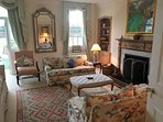 Drawing Room with Log Fire, TV and Card Table