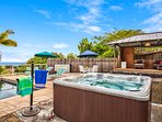 Pool & hot tub are very private for you to use.   At night you'll see the stars like never before