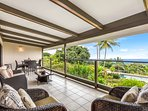 Lanai looking out.  Imagine yourself relaxing with a cold drink and soaking up the ocean view.