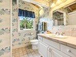 Loft Bathroom has walk in shower and garden views