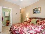Garden Bedroom has queen size bed, flatscreen and private bath with walkin shower