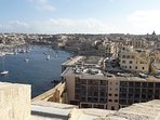 View of St Angelo Mansions (foreground) and Kalkara Creek from Fort St Angelo