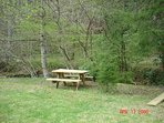 Picnic table, benches, and fire pit down by the creek