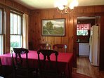 Dining room with table, 8 chairs and China cabinet.