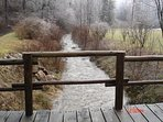 Bridge over creek in front of property.  Creek borders 2 sides of 6 acre property.