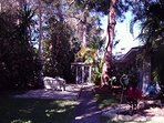 West patio with wood bench, you can move chairs and lounges to suit. Tall 100 year old trees
