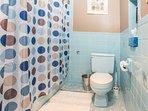 Full bathroom with tub, shower, toilet.