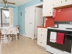 Eat-in kitchen with table and chairs for 2.