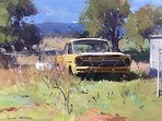 Painting done by Colley Whisson of one of many old cars, tractors and trucks collected by Rod