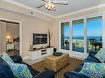 Spectacular oceanfront views. Comfortable reclining sofas and a new 51' HDTV.