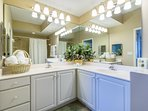 Master bathroom is bright, clean, and spacious. Enjoy quality linens.