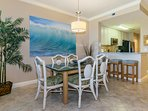 Spacious dining room adjoins nicely appointed kitchen for easy conversation.