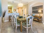 Dining room table seats 6. Enjoy home cooking or take-out from many great spots.
