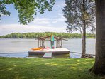 Private covered boat slip with swim platform. 2 kayaks free to use and Stand Up Paddle Board to rent
