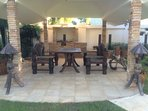 The BBQ sala is great for entertaining friends and family. Comfortable seating, briquette bbq, fan.