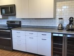 New kitchen features a double beer/wine chiller and microwave.