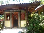 kitchen with Balinese wood carving door and windows