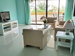 The living room are colorful yet gives a relaxing and cozy atmosphere where you can enjoy the TV