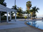 Walking to the beach by passing the Sea side pool area.