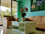 The sweet relaxing color of comfortable couch and sofa in the cozy living area of the house.