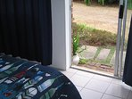 Seperate entrance.Sliding doors into garden