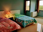 The twin beds are put in blue color room with bright windows and garden views