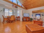 Large comfortable leather furniture helps you relax at Crescent Beach Cottage