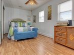 Sleep each night away in a Queen size bed at Crescent Beach Cottage