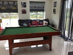 Play room with pool table, board games and wii games