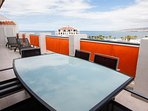 table and seating for 6 can easily be moved inside but perfect for the Tenerife al fresco dining.
