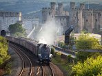 Steam train at Conwy Castle