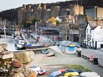 Conwy harbour and castle. See the smallest house in Wales and relax at the Liverpool Arms