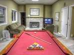 Game room w/pool table, card table, TV, & Gas FP