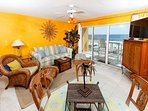 Beach inspired decoration really livens up the living room. The