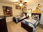 Upstairs Mickey & Friend Twin Room w/Two Twin Beds & Flat Screen TV